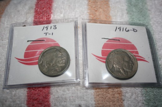 Here are the two nickels (Indian Heads) that were minted in my father and mother's birth years. They are definitely not for sale.
