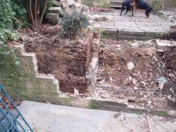 We had to knock down the old garden walls.
