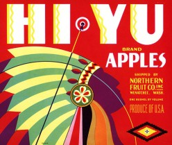 free cross stitch pattern Hi Yu apples fruit crate label
