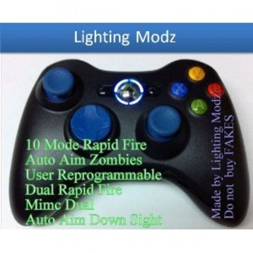 10 modes! Blue D-pad Thumb sticks ! Black Xbox 360 Modded Rapid Fire Wireless Controller with Blue LED
