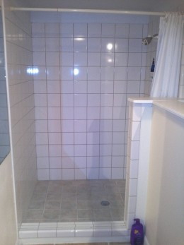 This is a picture of mine and my boyfriend's standing shower.