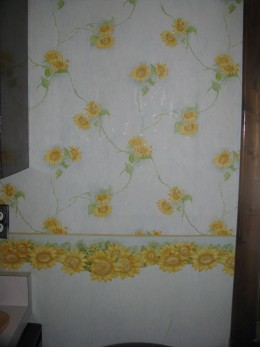 My kitchen wallpaper - blue with sunflowers