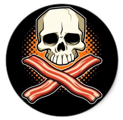 SkullsBacon Stickers from Zazzlewww_zazzle_com
