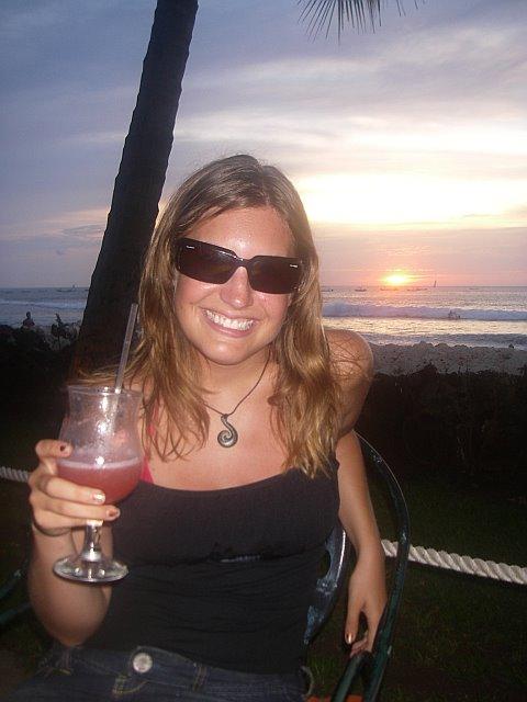 Enjoying a cocktail on the beach at Tamarindo