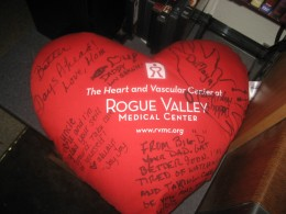 My cough pillow signed by family and friends.