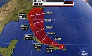 Hurricane Irene; Projected Path 2011