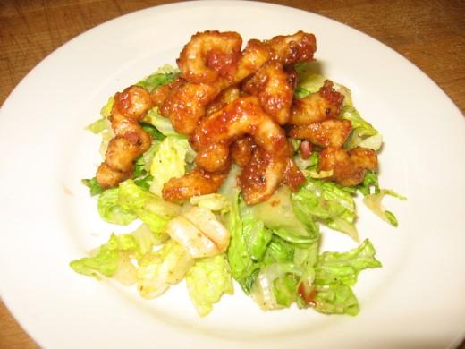Salad with Spicy Calamares & Hot Marinara Sauce