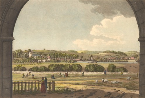 View of Caversham through the inner gateway of Reading Abbey, 1791