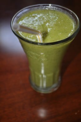 Spinach is the key ingredient for this smoothies appearance. Don't be fooled by the look though, this drink is mighty tasty! Source: Barbergirl28