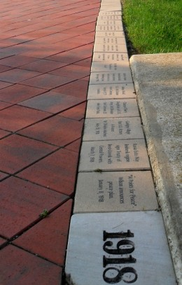 From the trenches of World War I, the pathways are paved with bricks that tell the story of our fight for freedom.