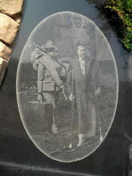 This old photo on a large granite slab tells a story.