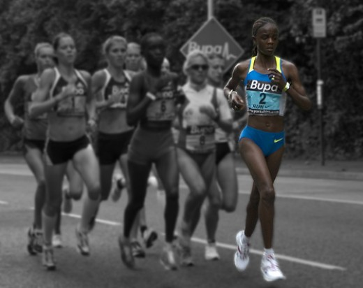 Grace Momanyi running. All these runners are at potential risk of the Female Athlete Triad Syndrome