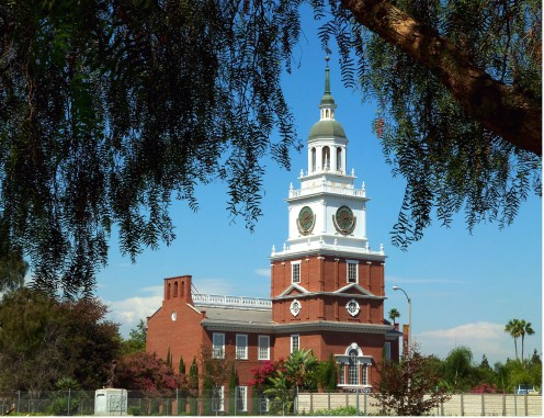 "- One of my favorite attractions at Knott's Berry Farm - A stunningly accurate replica of ""Independence Hall"" - Image captured from underneath a shady tree with camera lens trained at a precise angle between branches  -"