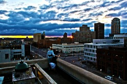 A rooftop embrace of Minneapolis after an amazing night.