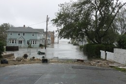 Storm surge flooding a block inland in Milford, CT during Tropical Storm Irene Aug 28, 2011