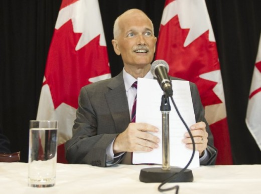 New Democratic Party leader Jack Layton speaks at a news conference in Ottawa