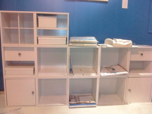 White storage cubes offer organization for scrapbook supplies
