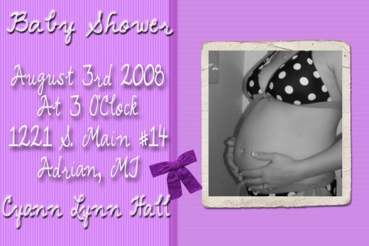 Daughter's invitation to her daughter's baby shower My daughter created this in Photoshop Elements