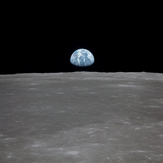 Looking at Earth from the Moon during Apollo 11 mission