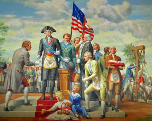 George Washington wearing full masonic regalia during the laying of cornerstone of US government