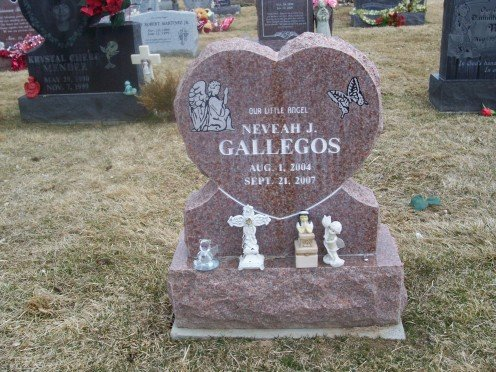 Tombstone of 3-year-old Nevaeh Gallegos