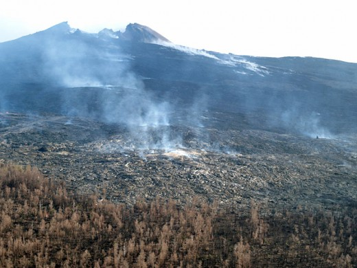 Pu'u O'o 2004, looming over its lava fields and burned forest.