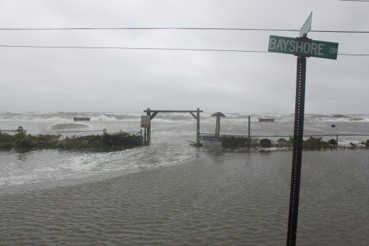 The other end of bayshore drive as the picture above in Milford, CT during Hurricane Irene on Aug 28, 2011