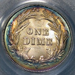 Barber Dime Reverse. Slightly Toned. Mintmark is below wreath. Photo Courtesy: coinpage.com