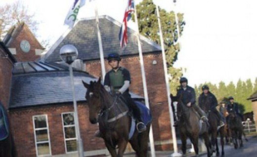 Youngsters ride horses at the Northern Racing College in Doncaster, where the 17-year-old girl was given a place