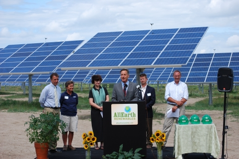 Vermont governor Shumlin, speaking at the dedication of the largest solar array in Vermont, at All Earth Renewables headquarters.