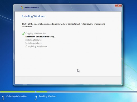 Now everything will be done by window setup file. It will install windows components you just need to wait