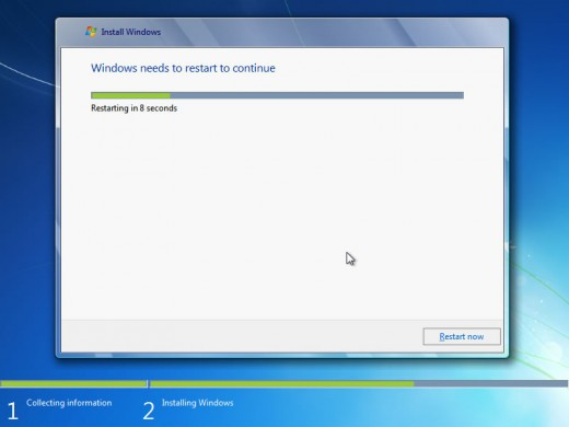 After the completion of installation windows will restart automatically