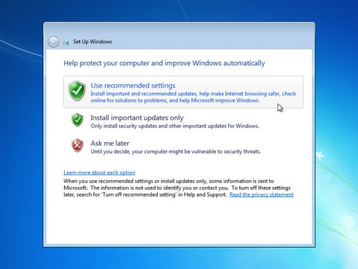 Again windows will ask you whether you want to use recommended settings or custom settings.