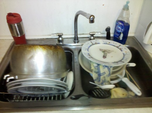 Typical Kitchen Sink: Clean Dishes on one side, Dirty Dishes on the other!