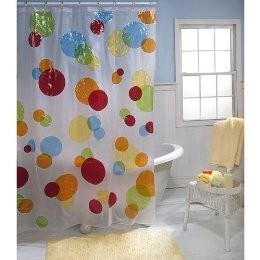 This Is A Picture Of A Vinyl Shower Curtain.  You Can See How It Is Plastic Because Of How Shiny It Is.