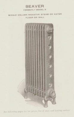 Beaver Single Column Floor or Wall Radiator by Hecla Iron Works of Brooklyn