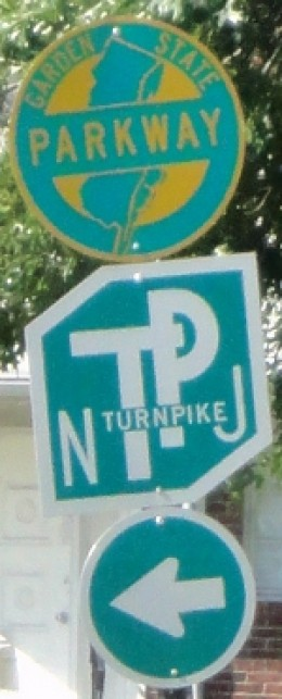 Not everyone lives within short distance off an exit off either tollway marked with its respective trailblazer (top: Garden State Parkway, bottom: New Jersey Turnpike).