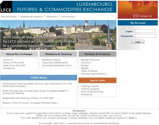 LFCE - Luxemburg Futures and Commodities Exchange website