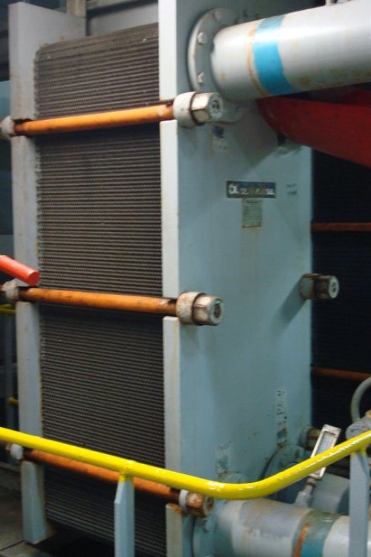 A plate type heat exchanger used mostly in central cooling systems.
