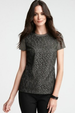 Lace Deco Short Sleeve Top from Ann Taylor
