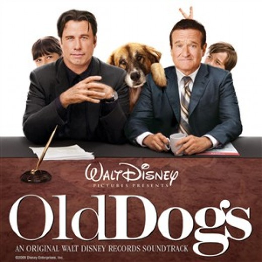 Poster for Old Dogs.  THE DOG HAS HIS PAW ON ROBIN'S SHOULDER!