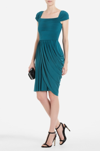 Mikaela Cap-Sleeve Asymmetrical draped dress by BCBG