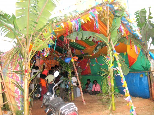 In this hut Sri.Ganesh 9 ft tall sits.