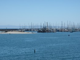 Distance and hazy view of Channel Islands from Santa Barbara harbor.