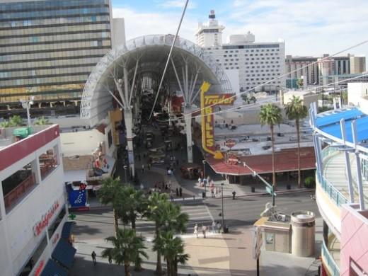 Zip lining on Fremont Street, Las Vegas