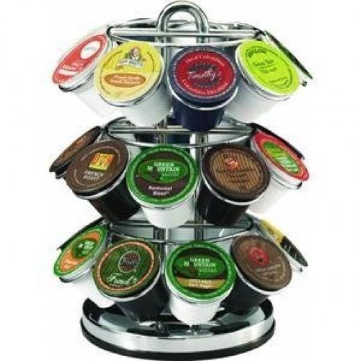 k-cups on a rack