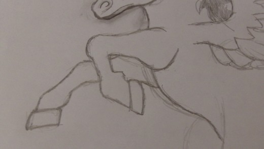 Darken the front leg pencil lines further.