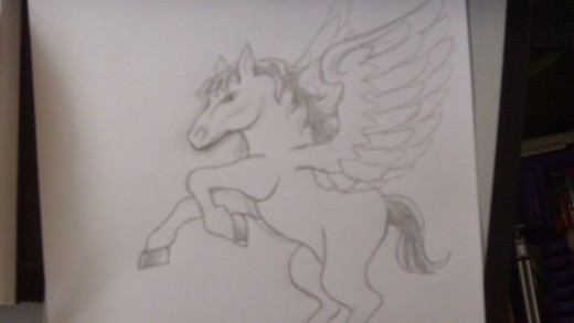 Finished Pony with wings drawing.