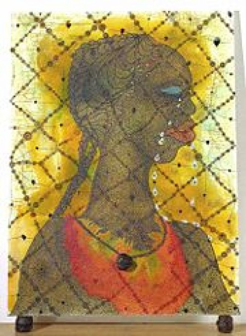 'No Woman No Cry' by Chris Ofili (1998). The painting stands on two dried, varnished lumps of elephant dung. A third is used as the pendant of the necklace.
