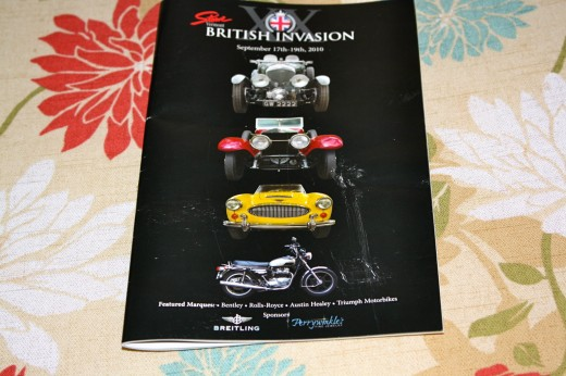 This is the cover of the brochure for last year's 'British Invasion' in Stowe, Vermont. This year's show is from the 16th through the 18th of September. If you want to see an assortment of old British cars and bikes this is the place!